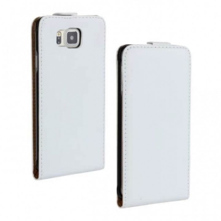 Белый флип чехол для Samsung Galaxy Alpha G850F из натуральной кожи