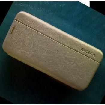 Кожаный чехол флип Lux Gold для Samsung Galaxy S9