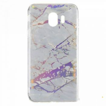 Мраморный чехол с красками для Samsung J610 (J6 Plus) серебро