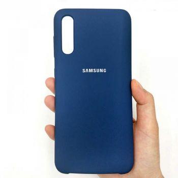 Оригинальный чехол накладка Soft Case для Samsung A50 темно-синий