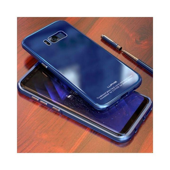 Защитный чехол пенал Luxury Glass для Samsung Galaxy S8 blue
