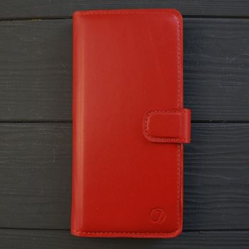 Классический кожаный чехол книжка ручной работы Elite для Xiaomi Redmi Note 9 Pro от Jitnik, красная