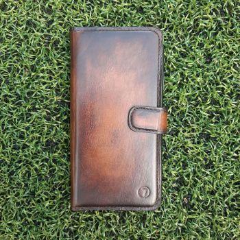 Винтажный кожаный чехол книжка Exclusive для Xiaomi Redmi Note 9 Pro от Jitnik, коричневый